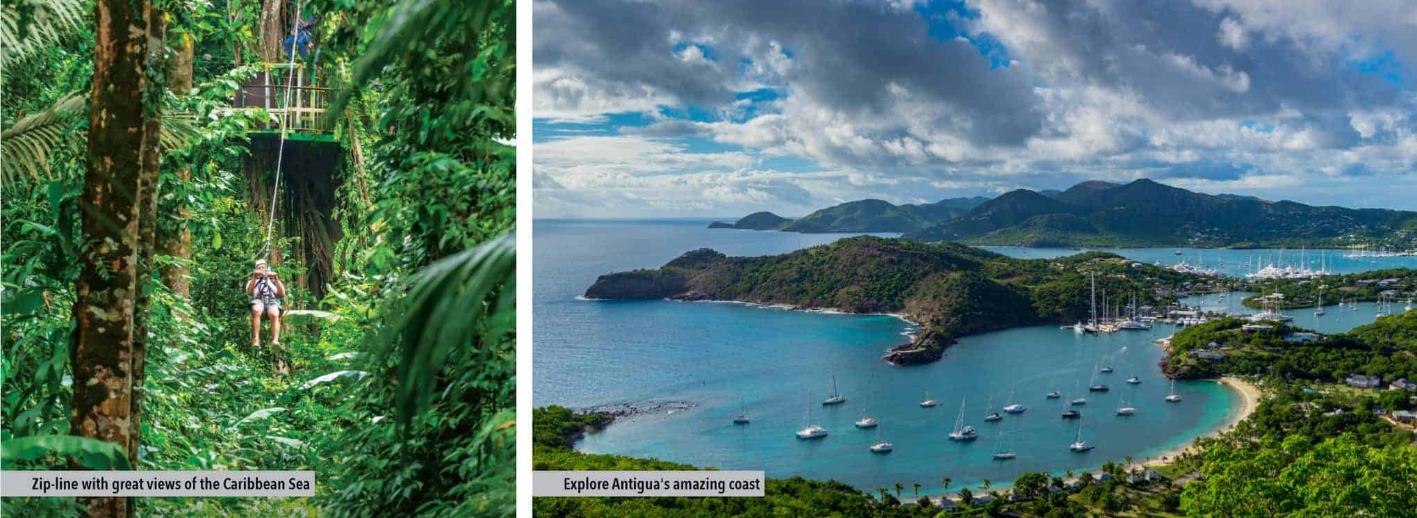 SILVERSEA: zip-line with great views of the Caribbean sea and exploring Antigua's amazing coast
