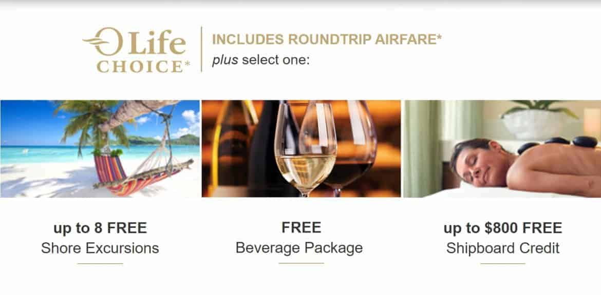 Oceania Last Chance Offers Include Roundtrip airfare* plus one of the following: * Up to 8 free Shore Excursions * Free Beverage Package * up to $800 Free Shipboard Credit