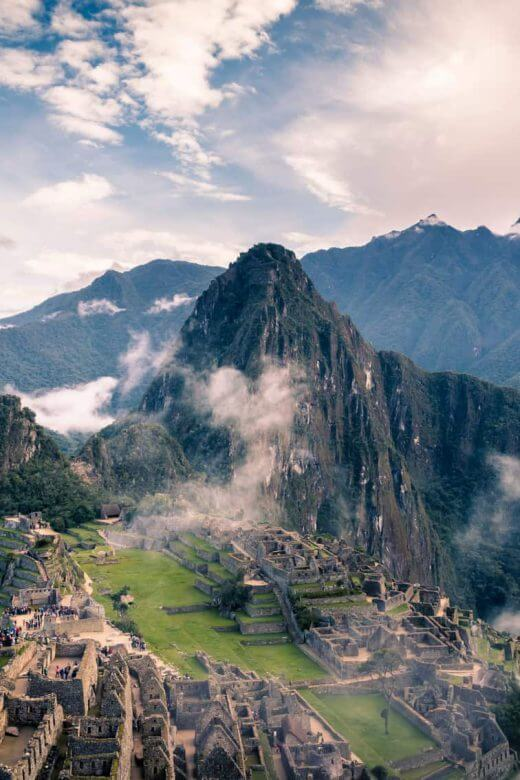Morning view of Machu Picchu High Mountains