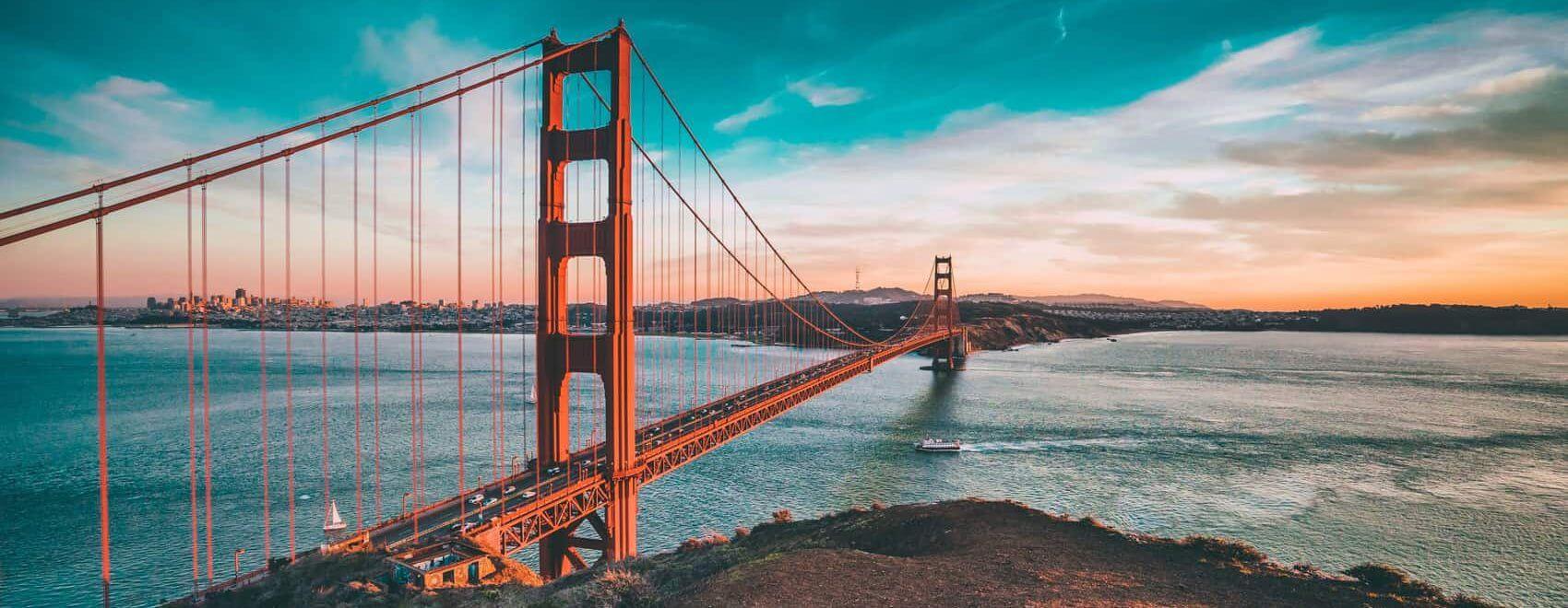 Cruise under Golden Gate Bridge San Francisco California