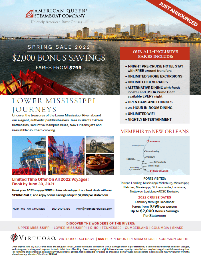 American Queen Steamboat Company - Spring Sale 2022